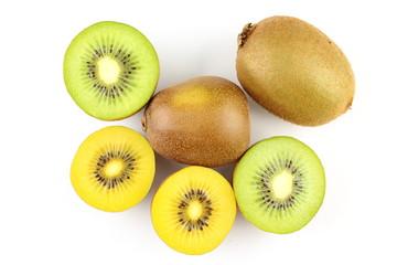fresh green and yellow kiwi fruits