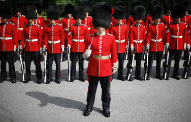 The Governor General's Foot Guards waits at Rideau Hall in Ottawa