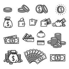 Money icon illustration. Wallet, money bag, dollar fan, credit card, coin