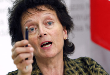 Swiss Justice Minister Widmer-Schlumpf speaks during a news conference in Bern