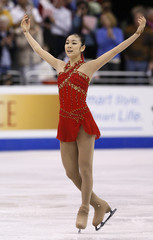 Yu-Na Kim of South Korea performs during the Ladies Free Skating portion of the 2009 ISU World Figure Skating Championships in Los Angeles
