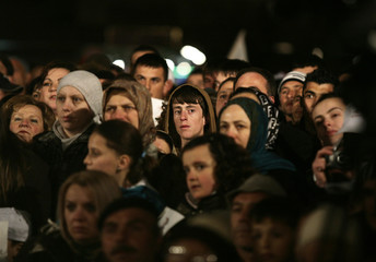 Supporters of New Democracy presidential candidate Imer Selmani attend an election campaign in Tetovo