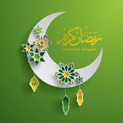 Paper graphic of islamic crescent moon. Islamic decoration. Ramadan Kareem - Glorious month of Muslim year.