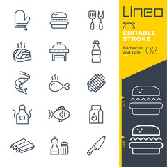 Lineo Editable Stroke - Barbecue and Grill outline icons. Vector Icons - Adjust stroke weight - Expand to any size - Change to any colour