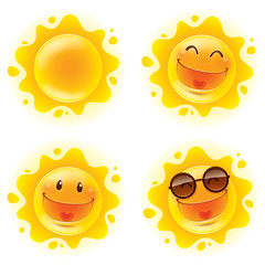 Collection of summer sun. A variety of sun character for summer design.