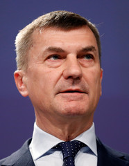 EU Commission Vice-President Ansip addresses a news conference in Brussels