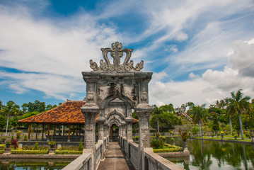 Water Palace Udjung. The bridge over the pond. Bali, Indonesia