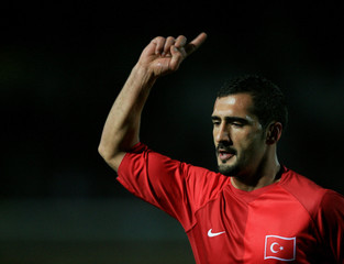 Turkey's Karan celebrates his goal against Czech Republic during their friendly soccer match in Izmir