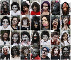 A combination picture shows Michael Jackson fans attending an event celebrating the late singer's 51st birthday in Mexico City