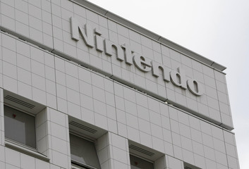 Nintendo Co Ltd's company logo is seen at their headquarters in Kyoto
