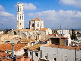 aerial view of old buildings from roof in Figueres, Spain