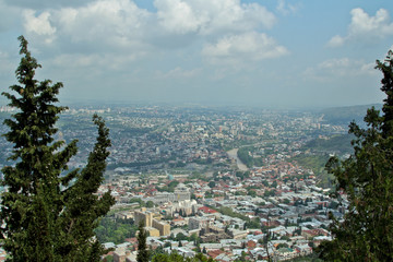 Spring view to big part of the capital of Republic of Georgia. View from the high Mtatsminda park. Skyline Tbilisi