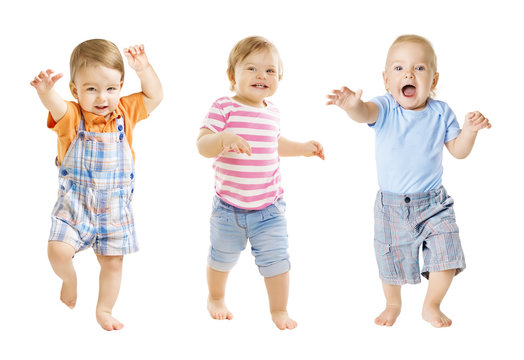 Baby Go, Funny Kids Expression, Playing Babies Isolated over White Background, one year old children