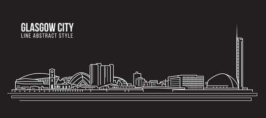Cityscape Building Line art Vector Illustration design - Glasgow city