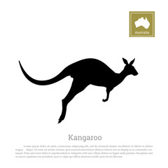 Black silhouette of jumping kangaroo on a white background. Isolated drawing of a wallaby. Vector illustration
