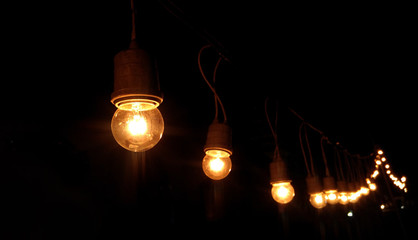 Light bulbs are bright at night time
