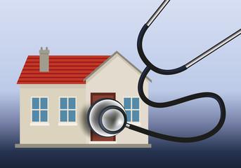 Maison - habitation - diagnostic - stéthoscope - isolation - consommation