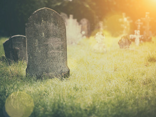 Tombstone in a graveyard