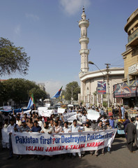 Activists from Pakistan's Islami Jamiat-e-Talba student group chant slogans during protest in Karachi