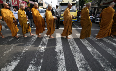 Indonesian Buddhists collect donations ahead of  Vesak Day procession in Magelang