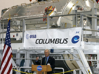 Alan Thirkettle, International Space Station program manager of the European Space Agency, stands in front of the European Space Agency's research laboratory, designated Columbus in Florida