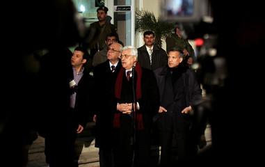 Palestinian President Mahmoud Abbas talks to media in Ramallah