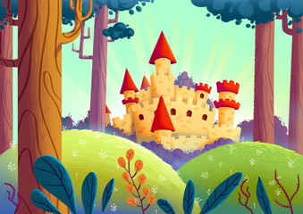 Beautiful Castle in the Forest. Video Game's Digital CG Artwork, Concept Illustration, Realistic Cartoon Style Background