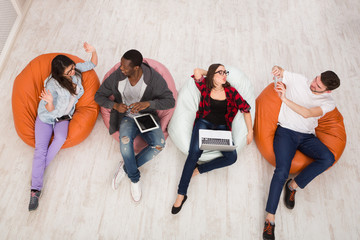 Coffee break, group of students preparing for exam