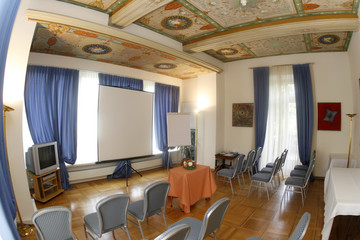 A view shows a conference room at Hotel Villa Sassa in the southern Swiss city of Lugano