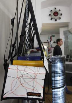 Bags made of old plastic lorry covers is pictured in the workshop of the Gabarage design shop in Vienna