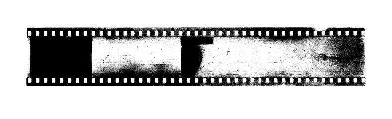 Strip of old camera film with dust and scratches