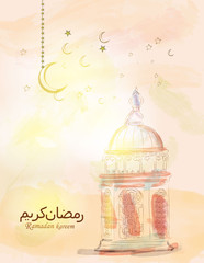 Illustration of Ramadan kareem and mubarak. beautiful watercolor of lanterns and arabic islamic calligraphy.traditional greeting card wishes holy month moubarak for muslim and arabic