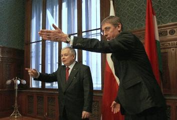 Hungary's PM Gyurcsany meets Poland's President Kaczynski in Budapest