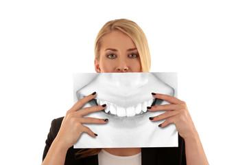 woman showing beautiful teeth