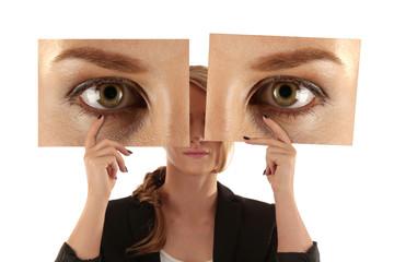 woman showing eyes
