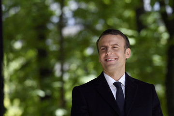 French President elect Emmanuel Macron attends a ceremony to mark the anniversary of the abolition of slavery and to pay tribute to the victims of the slave trade at the Jardins du Luxembourg in Paris