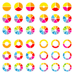 Square Set Pie Charts Color