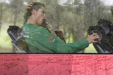 Portugal's Cristiano Ronaldo yawns after a training session in Viseu