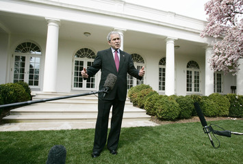 U.S. President George W. Bush talks about Press Secretary Tony Snow's cancer at White House in Washington