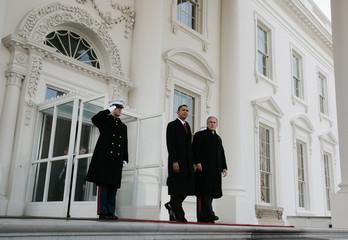U.S. President George W. Bush and President-elect Barack Obama depart the White House in Washington