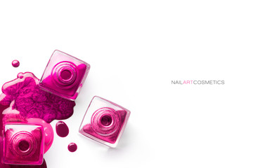 Nail art concept. Different shades of metallic pink nail polish