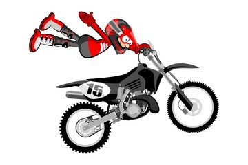 Motocross rider isolated over white backgrorund . Cartoon style.