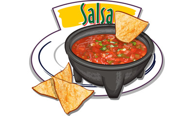 Salsa - traditional mexican sauce with nachos - vector