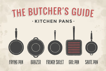 Set of kitchen pans. Poster Kitchenware - Pans, grill, pot. Vintage typographic hand-drawn pans silhouette for butcher shop, kitchen, restaurant menu, graphic design. Food theme. Vector Illustration