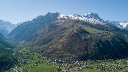 France, Photo Aérienne Village de Vallouise / Hautes- Alpes les écrins