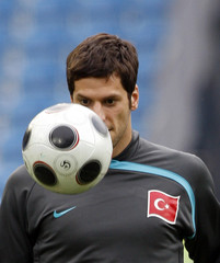 Turkey's Hakan Balta attends a training session for the Euro 2008 soccer tournament at St. Jakob-Park stadium in Basel