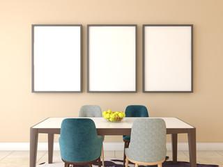 Mock up poster, cafe interior, 3d render
