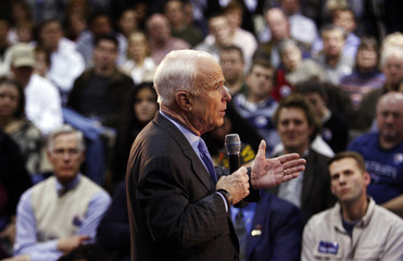 Republican presidential candidate McCain speaks at a town hall meeting event in Salem