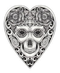Sugar Skull mix heart Day of the dead.Hand pencil drawing on paper.