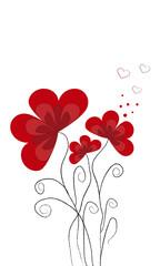 Flores rojas y corazones.